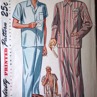 Simplicity 2051 Pattern for Mens' Pajamas, Size Medium, Circa 1940s, WONDERFUL