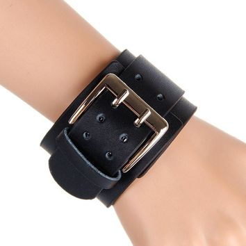 Retro Wide Leather Bracelets Punk Exaggerated Big Double Buckle Bracelet BK
