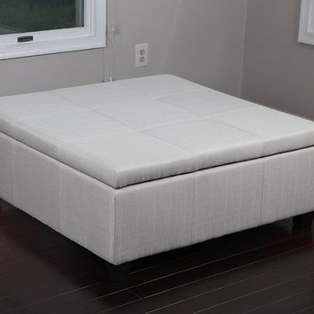 New Century® Linen Upholstered Tufted Ottoman Storage Bench, Seats 8, Ivory