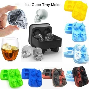 Novelty 3D Skull Head Ice Cube Mold Halloween Home Bar Silicone Ice Cube Tray Biscuit Cake Chocolate Maker Moulds Kitchen Tools