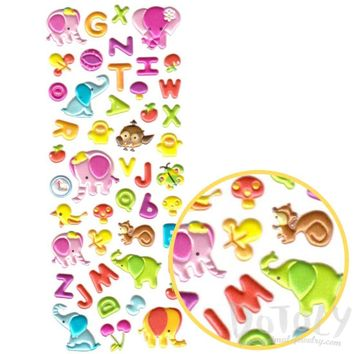Colorful Alphabet ABCs Elephant Shaped Puffy Typography Stickers for Scrapbooking