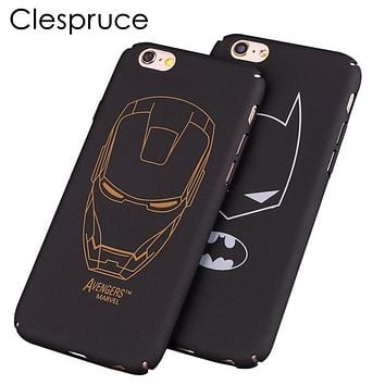 Clespruce black hard PC Ultra-thin Matte batman Phone Case Cover For Apple iPhone 8 8plus 7 6 6S plus 5 5S SE iron Maniron Man