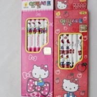 Imported Sanrio Hello Kitty School Supplies Pink & Red 10 Pencils