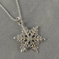 Sterling Silver Snowflake Charm Necklace - Winter Season Gift