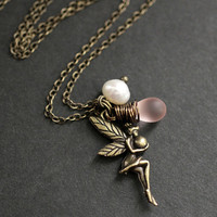 Fairy Necklace.  Bronze Faery Necklace with by TheTeardropShop