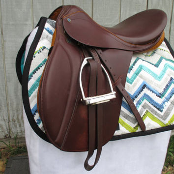 English All-Purpose Saddle Pad:  Blue, White, Grey, Green, Black Chevron Stripe Print