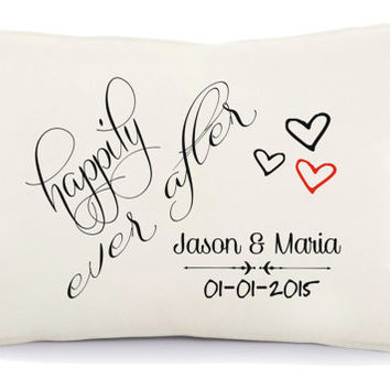 Happily ever after pillow, 2nd anniversary pillow, Personalized pillow, Anniversary gift, two year anniversary, pillow with a text (19)