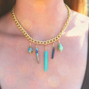 Aurora Turquoise Howlite Gold Chain Charm Necklace // Boho Jewelry // Bohemian Wire Wrapped Pendant Statement Necklace