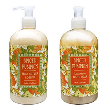 Greenwich Bay Spiced Pumpkin Hand & Body Lotion and Spiced Pumpkin Hand Soap Duo Set Enriched with Shea Butter 16 oz each