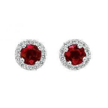 14K white gold ruby and diamond cluster earrings.  Set with .66cttw of rubies and .12cttw of H/VS diamonds in a cluster style.