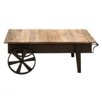 Industrial Wagon Wheel Metal and Wood Coffee Table
