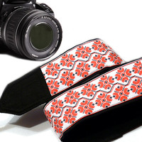 Geometric Camera Strap.  Dslr Camera Strap. Ethnic Camera Strap. White Rred Camera Strap