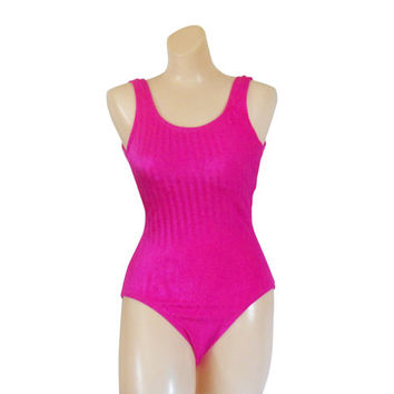 One Piece Swimsuit Hot Pink Swimsuit One Piece Swim Suit Women Swimsuit Swimming Suit Pink Bathing Suit Bather Swimmer 90s Swimsuit Swimwear