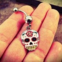 White Day of the Dead Skull Belly Button Ring Navel Jewelry