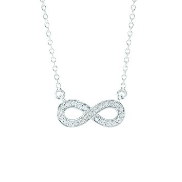 14k White Gold 0.15ct Infinity Necklace