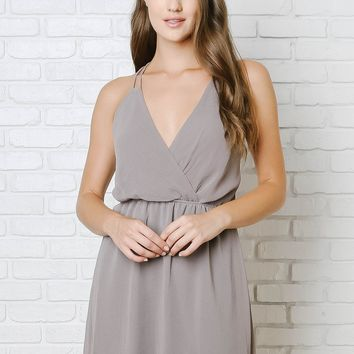 Gray Strappy Chiffon Dress
