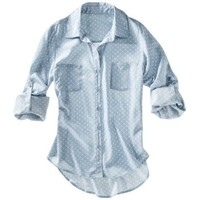 Xhilaration® Juniors Printed 3/4 Sleeve Top - Chambray/Ivory Dot