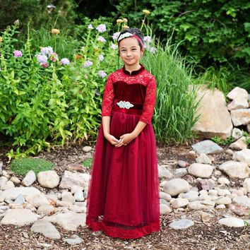 Wine Velvet Vivienne Gown & Sash - Toddlers, Girls & Juniors
