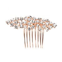 Rose Gold Crystal Cluster Bridal Hair Comb