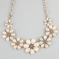 Full Tilt Facet Flower Statement Necklace Ivory One Size For Women 22842516001