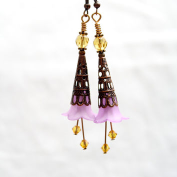 Antique copper capped frosted lavender lucite flower earrings, vintage style bohemian dangle with Swarovski crystals and Czech glass beads