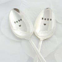 xoxo coffee spoon set, silver plated- hand stamped-coffee lover gift- ice cream lover-valentine gift, gift for for her, for him.