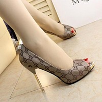 GUCCI Women Popular High-Heeled Shoes Sexy Cloth Letter Print High Heels Apricot