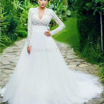 Long Sleeves A-line Wedding Dress With Deep V-neckline 2015