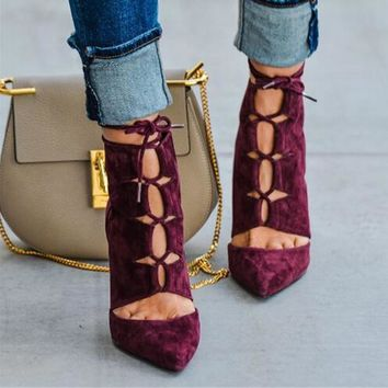 Fashion Wine Red Suede Lace Up Women Ankle Boots Pointed Toe Ankle Booties High Heel S