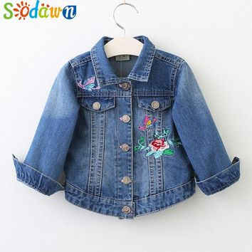 Trendy Sodawn   Girls Jackets Autumn Kids Coats Fashion Butterfly Flowers Embroidered Denim Jacket Children Clothes Girls Clothes AT_94_13