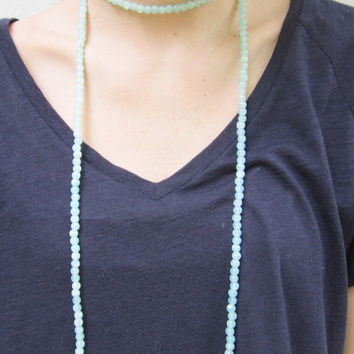 Beaded Double Wrap Necklace- Aqua Blue