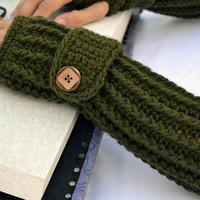 Army green ribbed with wrist strap crochet button arm warmers, fingerless gloves