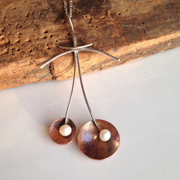 Etsy, Etsy Jewelry, Necklace, Copper Earrings, Freshwater Pearls, Sterling Silver, Dangle Necklace, Artisan, Unique