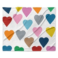 "Project M ""Colorful Hearts"" Fleece Throw Blanket"