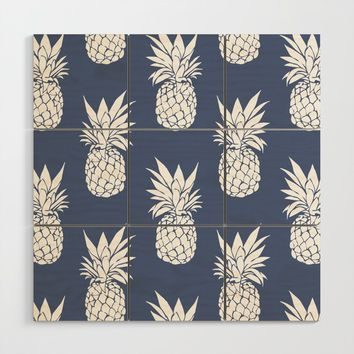 Pineapple Blues Wood Wall Art by allisone