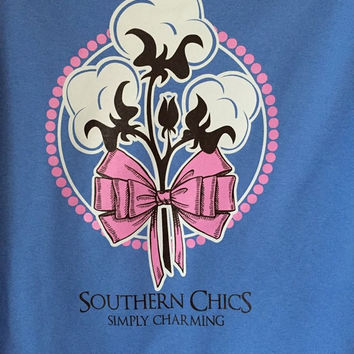 Southern Chics Preppy Cotton Stalk Bow Country Girlie Bright T Shirt