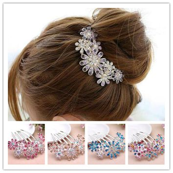 2017 barrettes Rhinestones Crystal flower hairpins with crystals hair clips for women Clips with crystal Hair hair comb hairpin