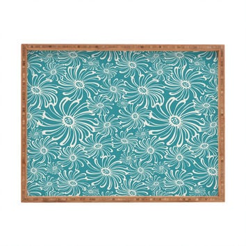 Heather Dutton Bursting Bloom Peacock Rectangular Tray
