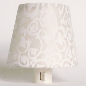 White Night Light and Shade with Tibetan Ivy and Flower Pattern - Cream Master Bedroom Decor - Nursery Night Light - Baby Nursery Decor