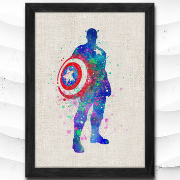 Captain America Watercolor Print Superhero Poster Art  Marvel Print Heroes Illustrations Room Nursery Kids Room Gift Linen Poster CAP52