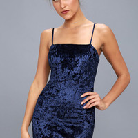 Flirty and Fierce Navy Blue Velvet Bodycon Dress