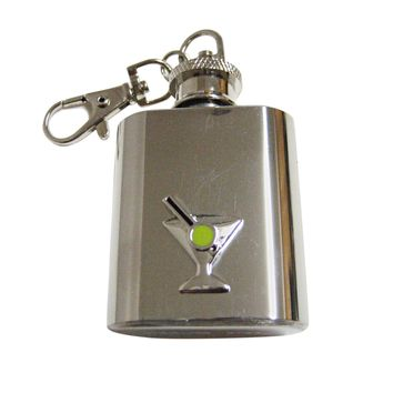 Silver Toned Detailed Martini Glass Keychain Flask