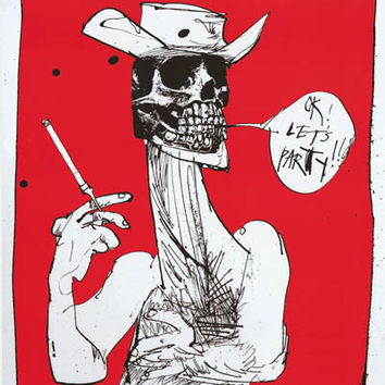 Ralph Steadman Let's Party Hunter S Thompson Poster 24x32