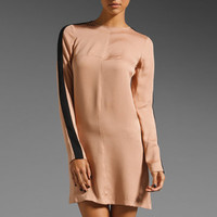 10 CROSBY DEREK LAM Silk Tuxedo Sleeve Tunic Dress in Nude/Black from REVOLVEclothing.com