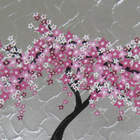 cherry blossom painting tree wall decor trees three large 3 canvases abstract art zen gray grey silver pink asian Japanese Japan