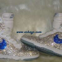 Clear Navy Rhinestones Nike Dunks