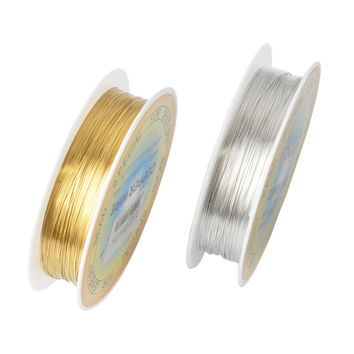 0.25/0.3/0.4/0.5/0.6/0.7/0.8/1mm 1 Roll Alloy Cord Silver Gold Plated Craft Beads Rope Copper Wires Beading Wire Free Shipping