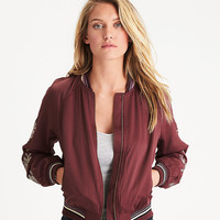 AEO Embroidered Satin Bomber, Burgundy