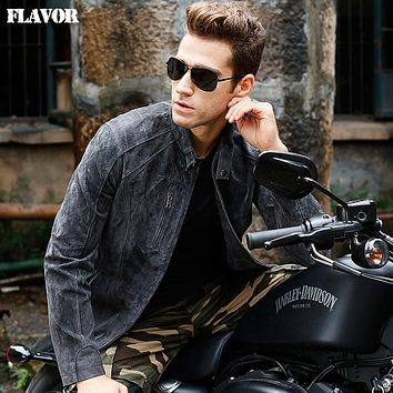 Men's gray real leather jacket Genuine Leather motorcycle jackets men coat