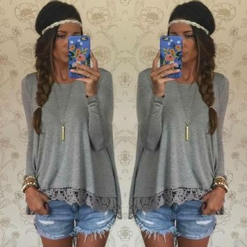 Grey Lace Trim Loose Shirt
